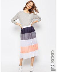 ASOS Gray Pleated Midi Skirt In Colour Block