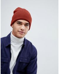 63dc5d19399 Lyst - New Look Ribbed Beanie In Rust in Red for Men
