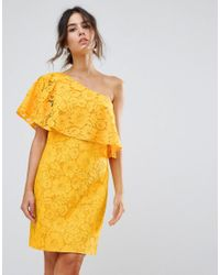 ff8377ad3ad Warehouse Bonded Lace One Shoulder Dress in Yellow - Lyst
