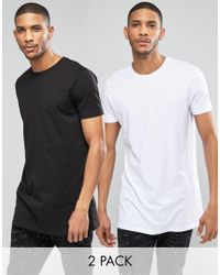 ASOS | 2 Pack Super Longline T-shirt With Crew Neck In Black/white Save for Men | Lyst