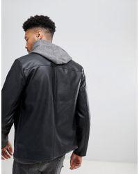 ASOS - Tall Leather Look Biker Jacket In Black for Men - Lyst