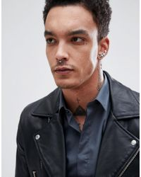 Reclaimed (vintage) - Metallic Inspired Faux Nose Ring In Silver Exclusive To Asos for Men - Lyst