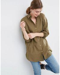 ASOS | Green Soft Twill Oversized Shirt | Lyst