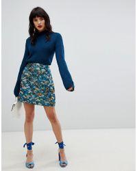 52e3d616a3 Vero Moda Floral Jacquard Skirt in Blue - Lyst