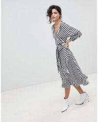 Gestuz - Multicolor Stripe Wrap Dress With Frill Detail - Lyst