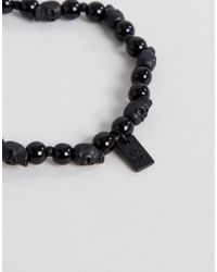 Icon Brand - Black Beaded Bracelet With Skull Bead for Men - Lyst