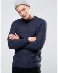 D-Struct | Blue Chunky Ribbed Crew Neck Jumper for Men | Lyst