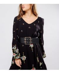 Glamorous | Black Wide Waist Belt With Gold Hardware | Lyst