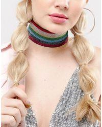 ASOS   Multicolor Rainbow Glitter Choker Necklace   Lyst