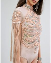 A Star Is Born - Natural High Neck Bodysuit In Iridescent Embellishment And Fringe - Lyst