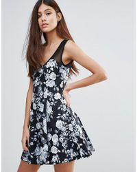 Zibi London - Black Floral Skater Dress - Lyst