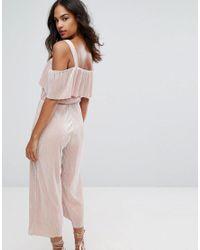 Warehouse - Pink Foil Plisse Frill Jumpsuit - Lyst