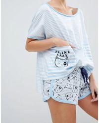 ASOS - Blue Feline Lazy Stripe Tee & Short Pyjama Set - Lyst