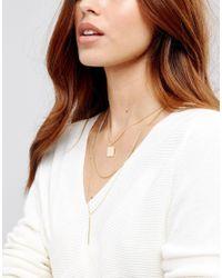 ASOS | Metallic Sleek Shapes Multirow Necklace | Lyst