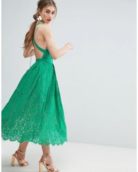 ASOS - Green Salon Lace Pinny Backless Full Midi Prom Dress - Lyst