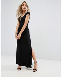 ASOS - Black Super Thigh Split Maxi With Strappy Detail And Open Back - Lyst