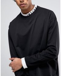ASOS - Black Oversized Long Sleeve T-shirt With Printed Insert Turtleneck for Men - Lyst