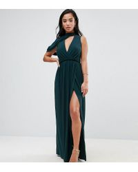 ASOS - Green Cold Shoulder Detail Plunge Maxi Dress - Lyst