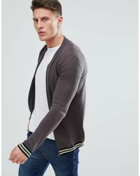 ASOS Knitted Bomber Jacket In Gray With Tipping for men