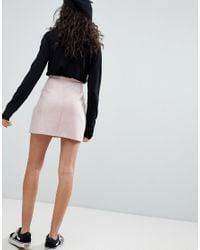 Bershka - Pink Button Front Suedette Mini Skirt - Lyst