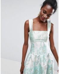 ASOS - Multicolor Bodice Seamed Bardot Prom Midi Dress - Lyst