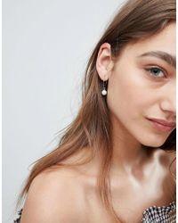 ASOS - Metallic Design Pack Of 2 Pearl Hoop Earrings - Lyst