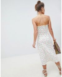ASOS Multicolor Bandeau Bow Front Midi Sundress In Polka Dot