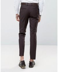 French Connection - Red Slim Fit Plain Burgundy Suit Trousers for Men - Lyst