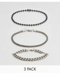 ASOS - Metallic Bracelet Pack With Mixed Chains for Men - Lyst