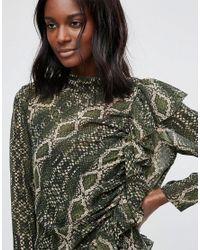 ASOS - Green Premium Ruffle Front Column Dress In Snake Print - Lyst