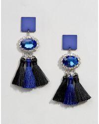 ASOS - Metallic Triple Tassel Gemstone Earrings - Lyst