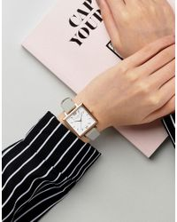 Olivia Burton - Large Gray Square Dial Watch - Lyst