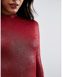 AX Paris - Red Animal Texture Long Sleeve Bodycon Dress - Lyst
