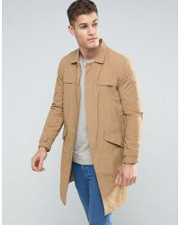 Bershka | Multicolor Lightweight Button Coat In Tan for Men | Lyst