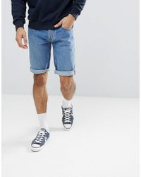 a04b14ea1 Hilfiger Denim Blue Tommy Jeans Ronnie Tapered Fit Denim Shorts In 90s Mid  Wash for men
