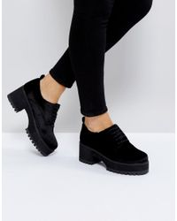 ASOS - Black Asos Omega Chunky Lace Up Heels - Lyst