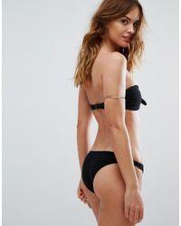 Motel - Black Bow Textured Bikini Top - Lyst