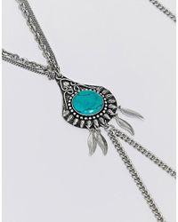 ASOS - Metallic Design Engraved Turquoise Stone Body Chain - Lyst