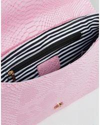Yoki Fashion | Pink Yoki Croc Effect Clutch Bag With Detachable Strap | Lyst