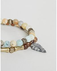 Reclaimed (vintage) - Metallic Inspired Beaded Bracelet With Semi Precious Stones In 2 Pack Exclusive To Asos for Men - Lyst