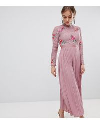 533b0033f552 Little Mistress. Women s Pink Embroidered Lace Top Midaxi Dress With Pleated  Skirt
