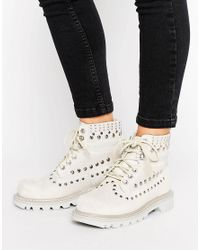Caterpillar | White Cat Colorado Studded Lace Up Flat Boot | Lyst
