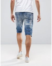 DIESEL - Blue Krowshort Distressed Denim Shorts for Men - Lyst
