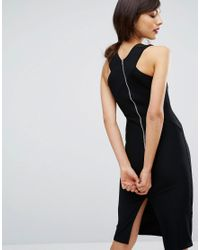Oasis - Black Cross Front Rib Tube Dress - Lyst