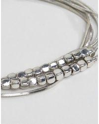 ASOS - Metallic Fine Beads And Chain Multirow Bracelet - Lyst