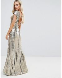 TFNC London - Metallic Allover Sequin Maxi Dress With Fishtail - Lyst