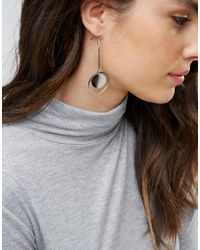 Pieces - Metallic Circle Drop Earrings - Lyst