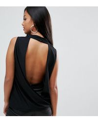 ASOS - Black Crepe Top With Cowl Neck And Open Back - Lyst