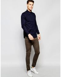 Tommy Hilfiger - Blue Poplin Shirt With Stretch In Slim Fit In Navy for Men - Lyst