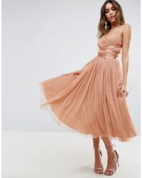 ASOS - Orange Premium Tulle Midi Prom Dress With Ribbon Ties - Lyst